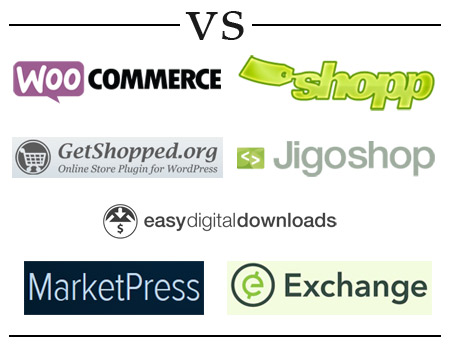 Logos of the 7 e-commerce plugins for WordPress compared in this article