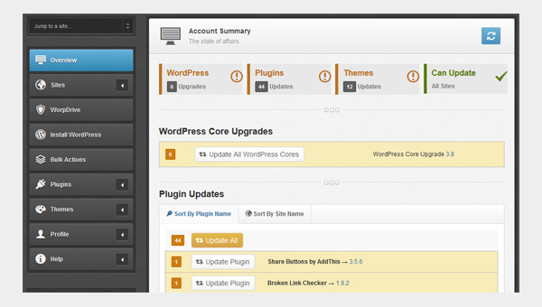 the iControlWP WordPress management dashboard