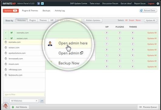 the InfiniteWP WordPress management dashboard