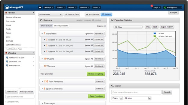 the ManageWP WordPress management dashboard