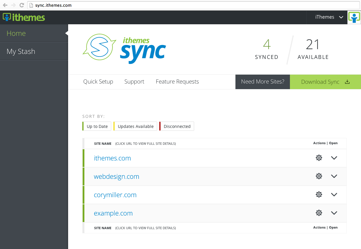 the iThemes Sync WordPress management dashboard