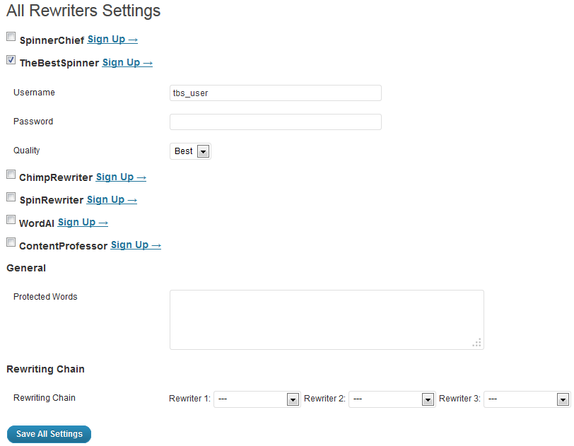 All Rewriters plugin settings page