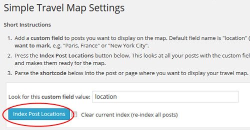 Simple travel map plugin settings