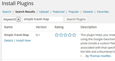 Installing the simple travel map plugin on your WordPress blog